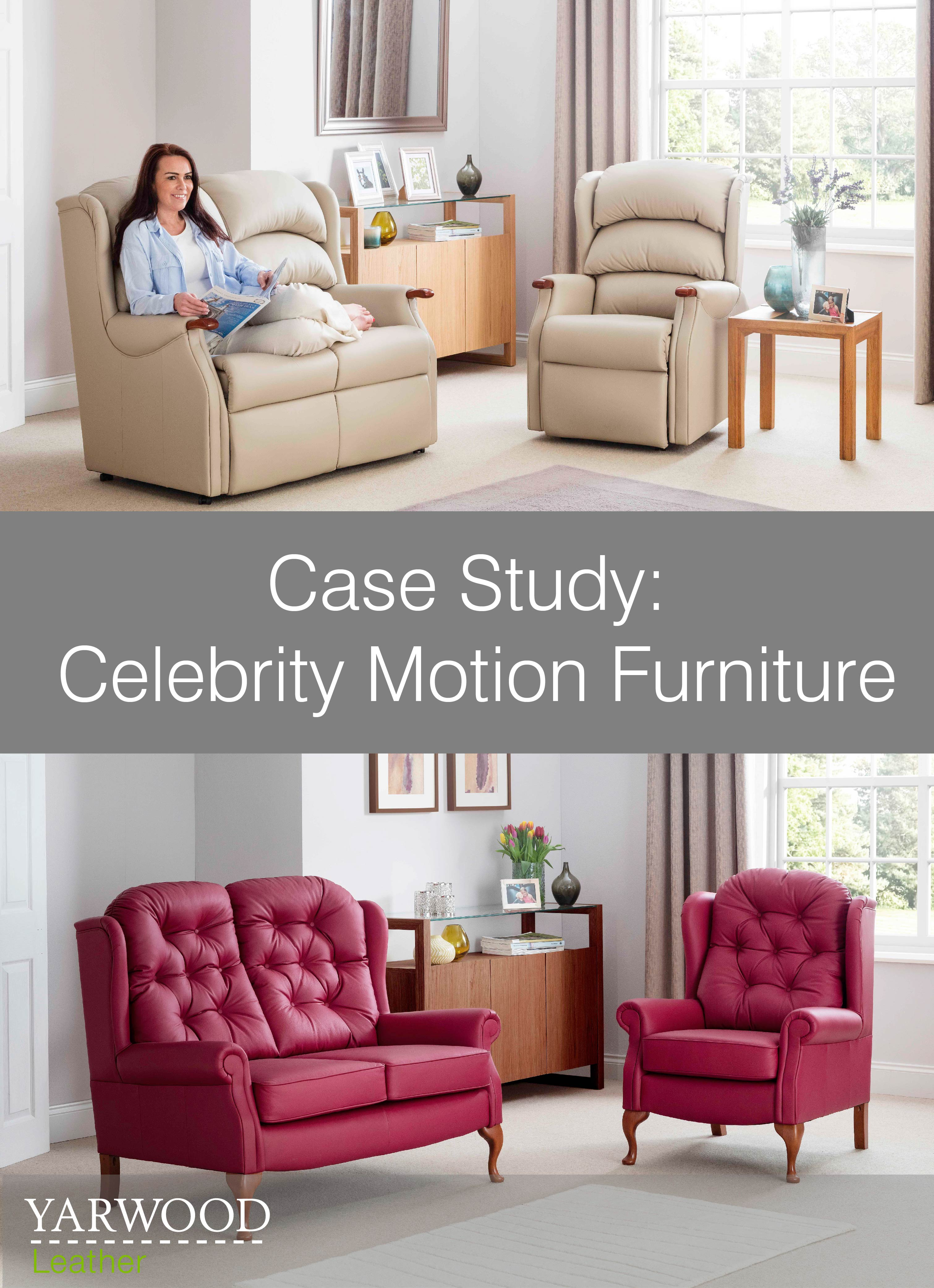 Relaxing home furniture upholstered in neutral and bright leather, read about our work with Celebrity Motion Furniiture