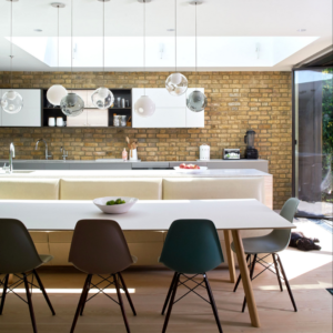 Banquette kitchen seating in Yarwood Leather Mustang White
